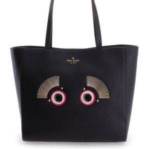 Kate Spade Black Monster Lizzey Warm & Fuzzy Bag